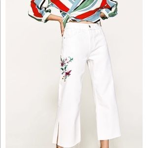 Zara Womens Wide Leg White Jeans